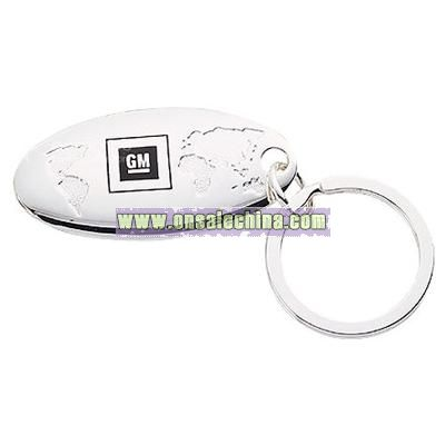 Silver Plated Global Keychain