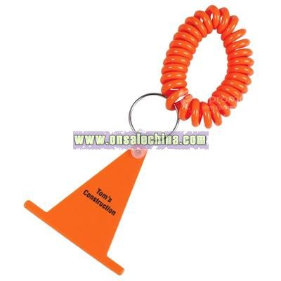 Construction Cone Keychain with Coil