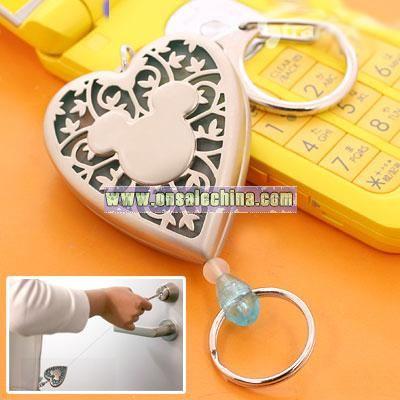 Disney Mickey Mouse Leel Heart Key Ring (Clear Blue)
