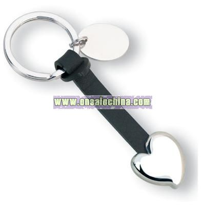 Leather Heart Icon Keychain