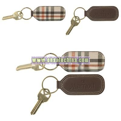 Leather Key Ring with Plaid Accents