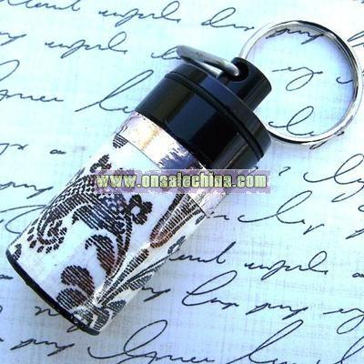 Black Keychain Pill Bottle with Victorian Pattern