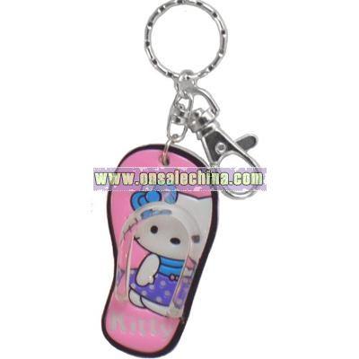 Adorable Flip Flop Kitty Key Chain Purse Charm
