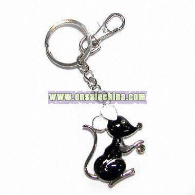 Decorative Keychain with Rhinestones and Epoxy