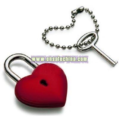 Heart Shaped Padlock With Keychain