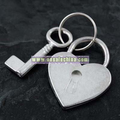heart padlock & key keyring
