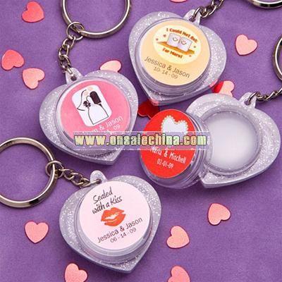 Personalized Heart Shaped Lip Balm Key Chain Favors