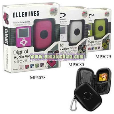 Digital audio media player with travel speaker and FM radio