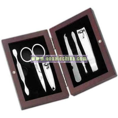 6PC Manicure set in rosewood box