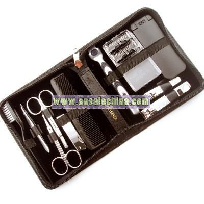 Eleven Piece Leather Manicure/Shave Set