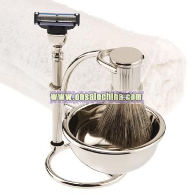 Silver-Plated Shaving Set with Mach3 Razor