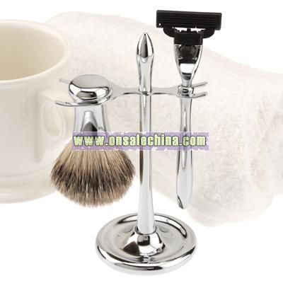 Personalized Mach3 Razor & Badger Brush on Chrome Plated Stand