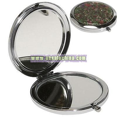 Budd Leather Mother of Pearl Compact Mirror