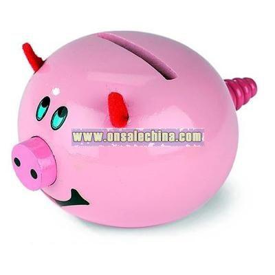 Wooden Pig Money Bank