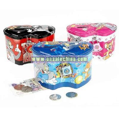 Colorful tinplate coin bank