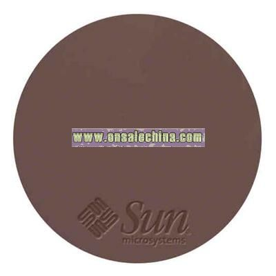 Round genuine top grain cowhide leather mouse pad with non-skid base