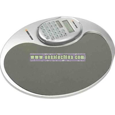 Dual powered hand held oval shape calculator with mouse pad