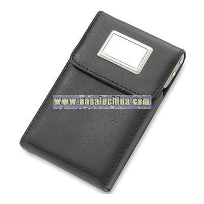 Black PU Leatherette Business Card Case w/ Rectangular Plate