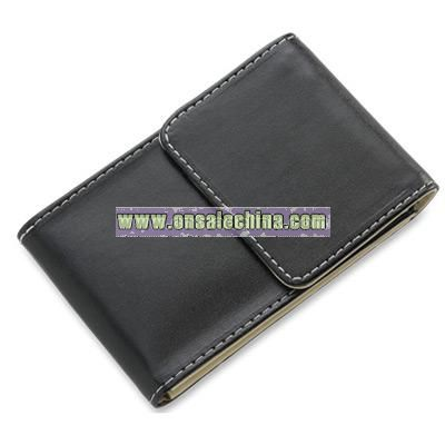 Black PU Leatherette Business Card Case