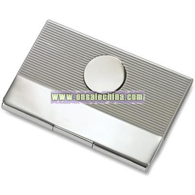 Silver Ribbed Business Card Case w/ Round Plate