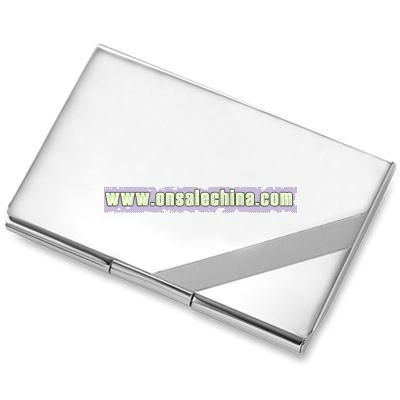 Silver Stripe Business Card Case
