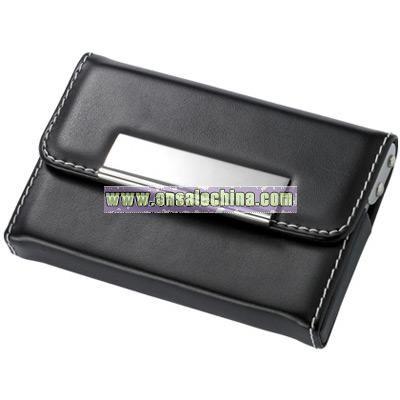 Black PU Leatherette Business Card Case w/ White Stitching