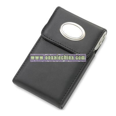 Black PU Leatherette Business Card Case w/ Oval Plate