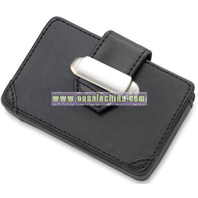 Black PU Leatherette Business Card Case