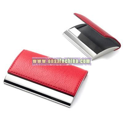 Red Leatherette Business Card Case with Magnetic Lid