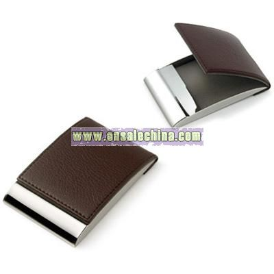 Brown Leatherette Business Card Case w/ Magnetic Lid