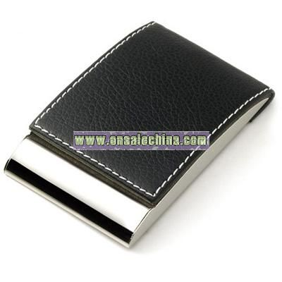 Black Leatherette Business Card Case w/ Magnetic Lid