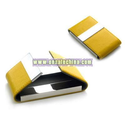 Yellow Leatherette Business Card Case w/ Double Magnetic Flap