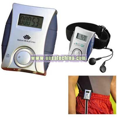 ABS plastic pedometer features a FM scan radio with earbuds and arm band