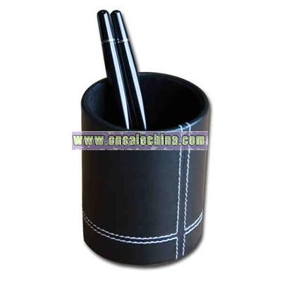 Eco-friendly leather pencil cup