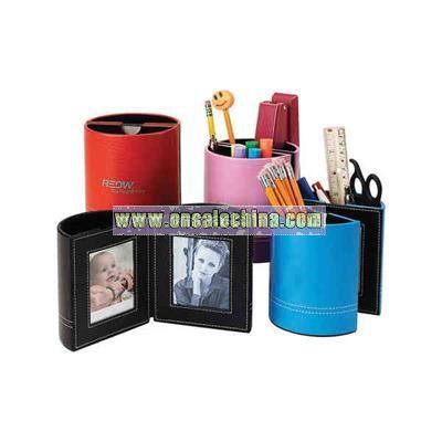 Leather penholder with frames