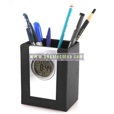 Leather pen holder with alarm clock