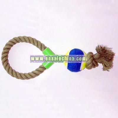 Rope Pull Dog Toy with Standard Tennis Ball