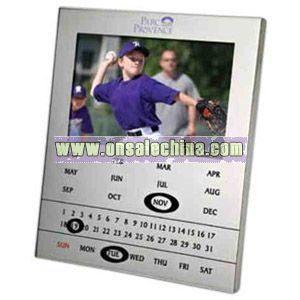 Shiny chrome photo frame and magnetic perpetual calendar combo