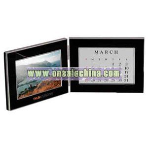 Black photo frame with chrome trims and calendar
