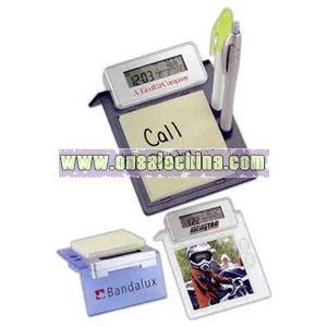 Photo frame With Clock and memo pad holder