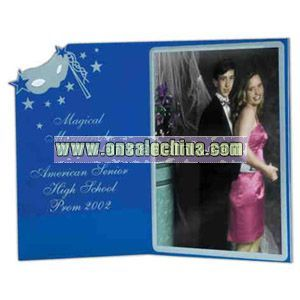 Acrylic open book photo frame with mask design