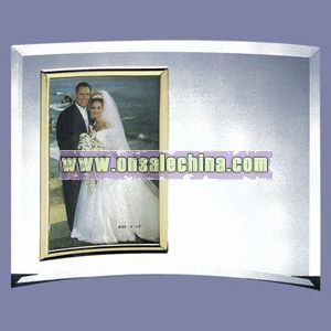 Gold Trimmed Vertical Glass Photo Frame