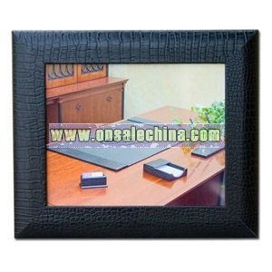 Black crocodile embossed leather photo frame