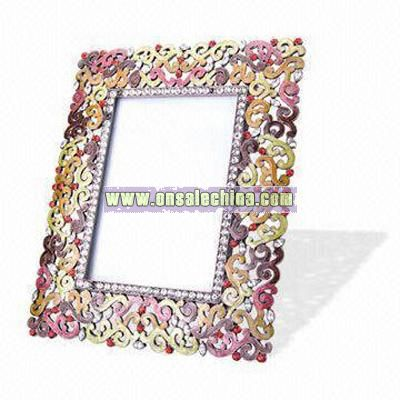 Metal Photo Frame with Crystals and Stones Decoration