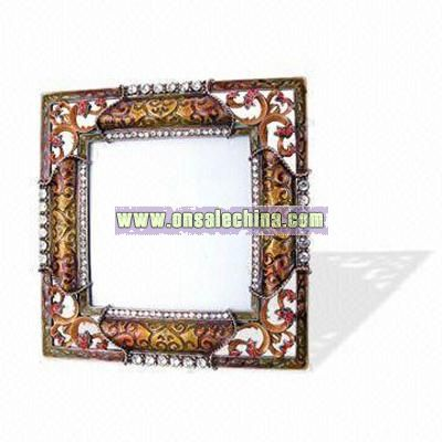 Metal Photo Frame Decorated with Stones and Crystals,