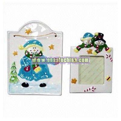 Ceramic Christmas Plaque and Photo Frame