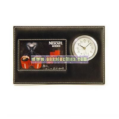 Leather Photo Frame With Clock