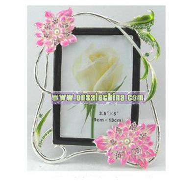 Flower pewter photo frame with black velvet back and stand