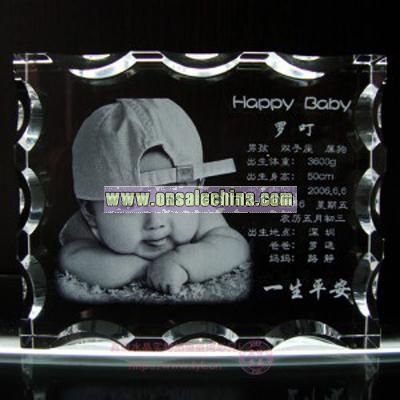 Crystal photo frame with 2D/3D engrave