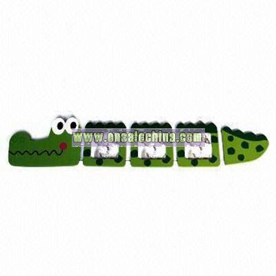 Crocodile Design Ruler Wooden Photo Frame